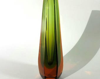 A Tapered Sommerso Faceted Glass Vase by WMF, Germany
