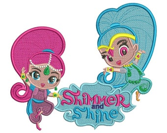 Shimmer and Shine Stitch Embroidery Design 3 sizes instant download