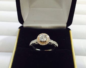 Vera Wang Lov Collection diamonds engagement,ring,14k white gold,rose gold details.3/4ct TW size 7
