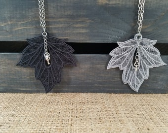 Embroidered leaf charm necklace