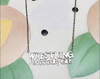 Wrestling/Perfected By Girls Sterling Silver Charm Necklace