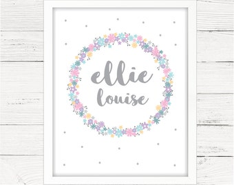 Girls Room Decor Personalised Name Print. Any Name and Message. Little Bridesmaid Gift. Pretty, Customise for Wedding.