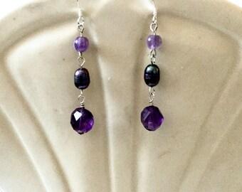 Amethyst Freshwater Pearl Sterling Silver Drop Earrings - February Birthstone