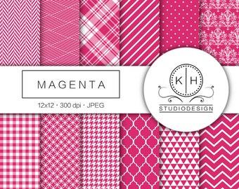 Magenta Digital Paper, Magenta Scrapbooking paper, Pink Plaid Background, Pink Pattern Digital Paper, Pink Scrapbooking Paper, Magenta Paper