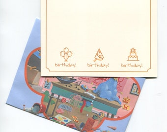 Cheerful Birthday Card + Children's Book Cover Envelope