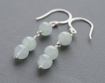 Minimalist Aquamarine Gemstone Sterling Silver Drop Earrings March Birthstone