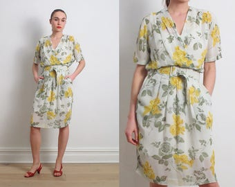 80s Green Yellow Rose Belted Blouson Dress / S-M
