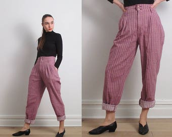 80s Lilac High Waisted Stripe Pants / S-M