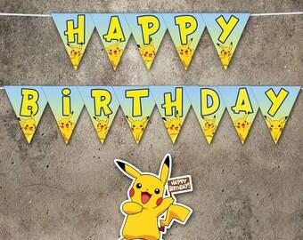 PRINTABLE Banner, Pikachu, Pokemon Birthday, Party, Template