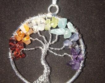 Chakra necklace , crystal necklace , chakra tree of life necklace- Pendant