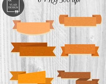 Wood ribbons Clipart Ribbons Clipart Digital Wooden Elements Wood textures graphics Rustic clipart Decorative wooden ribbons