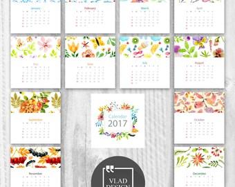 2017 printable calendar Monthly Wall calendar Floral 2017