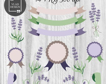 Lavender Clipart, Provence Clipart, Digital provence style elements, Cute lavender graphics, Purple clipart, Frames, Badges, Ribbons clipart