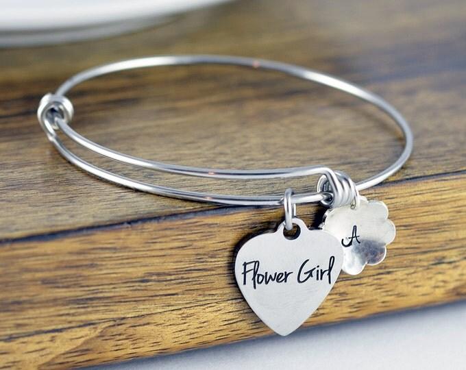 Flower Girl Bracelet, Flower Girl Gift,  Personalized Flower Girl Bracelet, Wedding Gift, Bridal Party Gift, Children's Bracelet