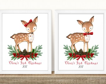 Baby's First Christmas, Personalized Baby Gift, Personalized Baby Christmas Art, Personalized Baby Christmas Print, Christmas Baby Art