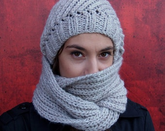 SCARF & HAT SET, includes both the hat and the scarf, chunky infinity scarf, knit beanie hat,warm hat and scarf, soft and comfortable