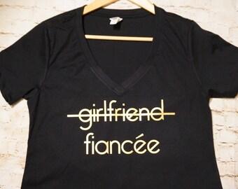 Fiancée Girlfriend Shirt. Engaged Shirt. Girlfriend Crossed Out Shirt. Promoted to Fiancée Shirt.