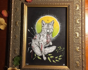 "Framed Original Painting, ""Coyote's Plight"""