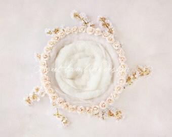 Digital background newborn photography, Cream nest - Elizabeth version 2