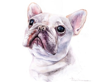 custom pet portrait commission watercolor pet painting French Bulldog wall art gift idea home decor animal wall art memorial dog portrait