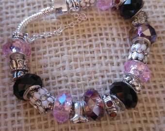 925 Silver Pandora style charm bracelet