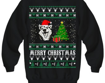 Merry Christmas Husky, Husky Christmas Sweater, Ugly Husky Christmas Sweater, Husky Christmas, Siberian Husky Gift