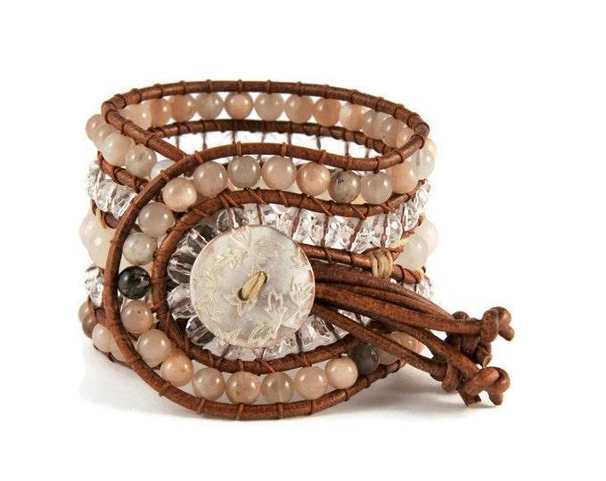 Boho Poeta * 5 strand Statement Wrap Bracelet. Boho Style. Bohemian Jewelry. Semiprecious stones. Gift for her. Unique Design.