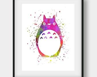 My Neighbor Totoro, Totoro Print, Studio Ghibli, Watercolor Print, Miyazaki Hayao, Watercolor Art, Childs Room Decor, Nursery Decor