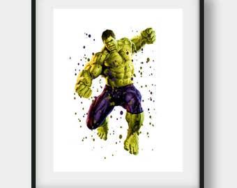Hulk Art 3, Hulk Printable, Hulk Print, Hulk Wall Art, Hulk Wall Decor, Hulk Watercolor, Hulk Poster, Hulk Nursery, Hulk Nursery Printable