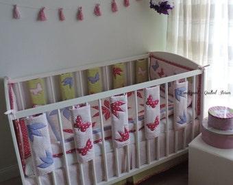 Nursery Bedding Set Girl - Modern Girl Crib Set - Girl Baby Bedding - Baby Cot Bar Bumpers - Flower Quilt  - Crib Bumper Pad - Crib Skirt