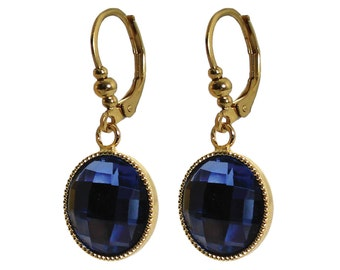 Hypoallergenic surgical steel blue crystal dangle earrings