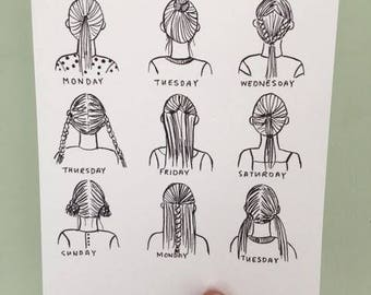Postcard with illustration of girl with different hair styles