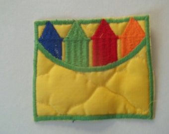 Quilted Crayons Sew On Appliques - package of 4
