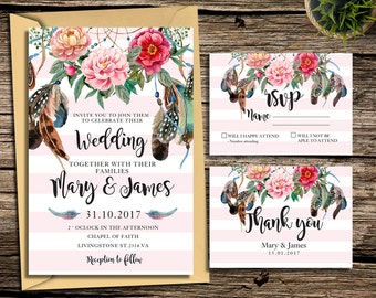 Floral Wedding Invitation Printable Boho Wedding Invitation Suite Bohemian Wedding Invite Floral Wreath Wedding invite Set Digital | DR_1