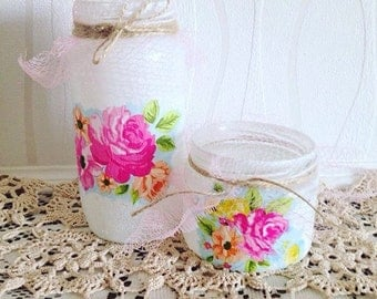 Shabby Chic floral jars set, exotic flowers, ornaments, home decor, glass jars, hawaiian theme