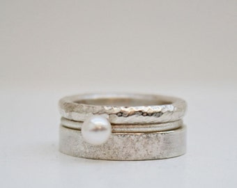 RingSET in silver & Pearl