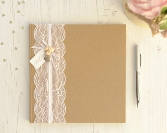 Personalised Wedding Guest Book. Vintage Style Lace and Rose Guest Book and Box. Kraft Brown Lace and Roses Guest Book.