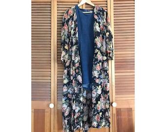 VINTAGE 1990's Floral Sheer Maxi dress grunge cover up button down hippie boho festival coachella black romantic