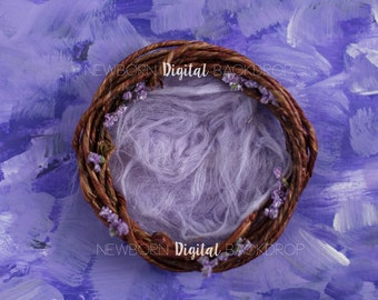 Newborn Digital Backdrop Purple Hand Painted