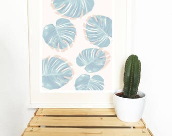 Poster, Monstera, leaf, pattern