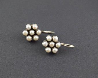 Bezel Set Floral Design Pearlescent Bead Hook Earrings Sterling Silver 5.8g