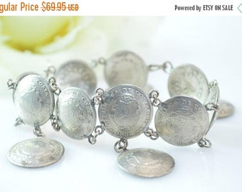 On Sale Costa Rican Coin Link Bracelet Sterling Silver 26.9g