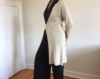 Vintage Oatmeal Nubby Textured Long Cardigan / Open Front Sweater