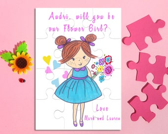 Personalized Flower Girl Puzzle, Will You Be my Flower Girl puzzle, Flower Girl proposal, Asking Bridesmaid, Maid of Honor Invite, Jigsaw