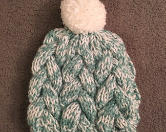 Braided Cable Beanie - Winter Flurries
