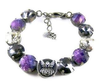 Guiding Angel  Amethyst bracelets,Swarovski crystals,wedding bridal jewelry,bridesmaids gifts,designer inspired
