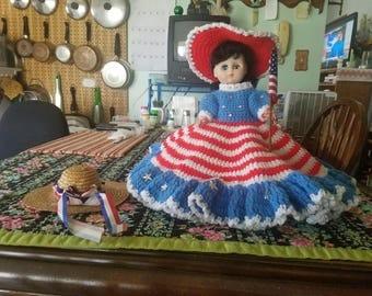 Large patriotic sleepy eyed doll crocheted