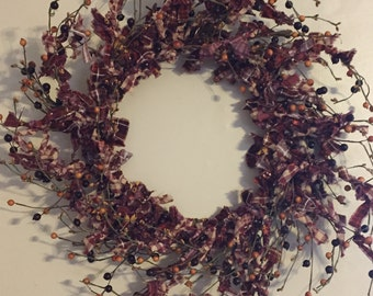Wreath, Rag Wreath, Primitive Wreath, Rustic Wreath, Berry Rag Wreath, Berry Wreath