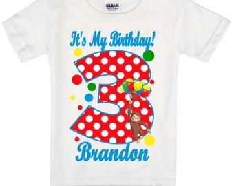 Curious George Birthday Shirt Peronalized