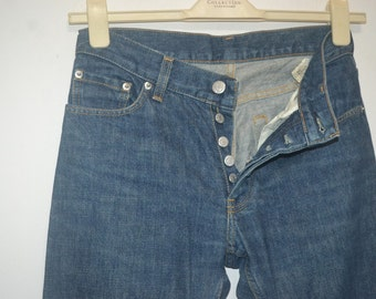 Vintage 90s Helmut Lang Buttonfly Classic Denim Jeans Made in Italy Size 28 or 29 Fashion Designer Comme des Yohji Issey 90s Slim Fit
